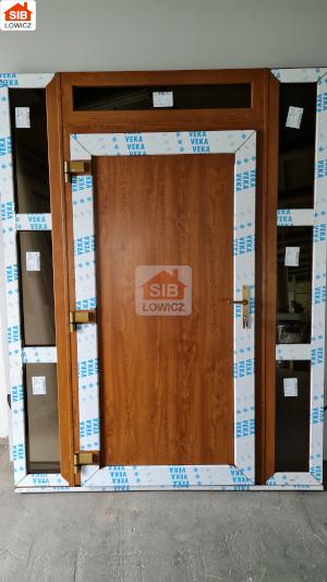 Drzwi wejściowe SIB Łowicz kolor złoty dąb