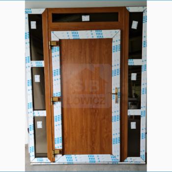 Drzwi wejściowe PCV kolor złoty dąb SIB Łowicz