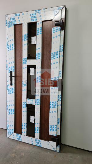 Drzwi jednoskrzydłowe PCV orzech obustronny SIB Łowicz