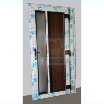 Drzwi wejściowe PCV kolor dąb bagienny SIB Łowicz