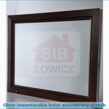 Okno inwentarskie SIB Łowicz kolor zewnętrzny orzech